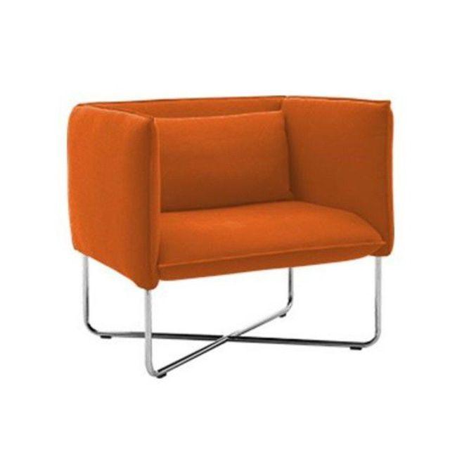 Inside 75 Fauteuil Groove en tissu laine orange Softline