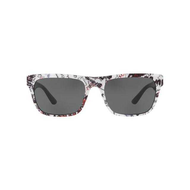 Burberry - Be-4268 371287 Blanc print - Noir brillant - Lunettes de soleil  - pas cher Achat   Vente Lunettes Tendance - RueDuCommerce e074be3f114c