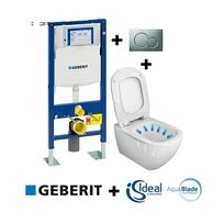 Geberit - Pack Up320 + Cuvette sans bride Tesi Aquablade + Sigma Chr mate