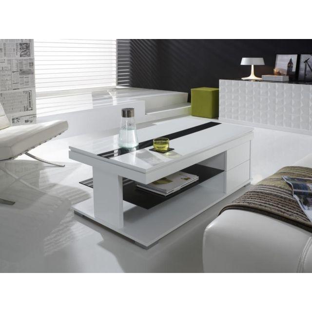 Nouvomeuble Table basse relevable blanc laqué design Elisa
