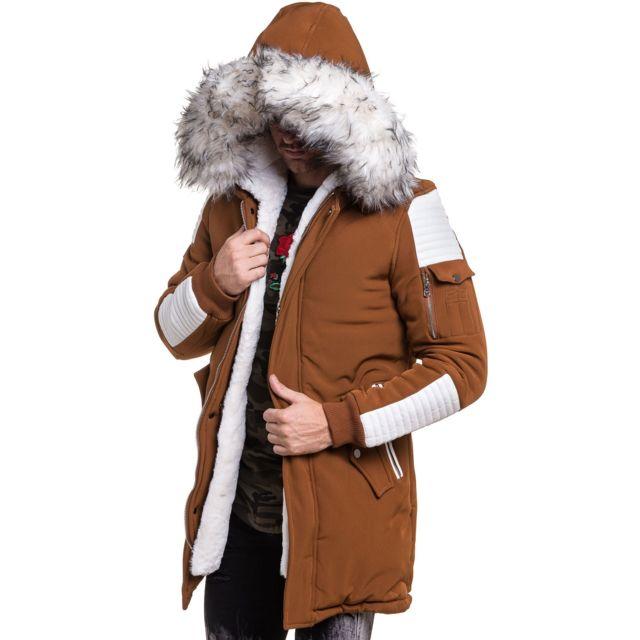 Project X - Parka homme long camel simili cuir blanc fourrure - pas ... 31b41943a265