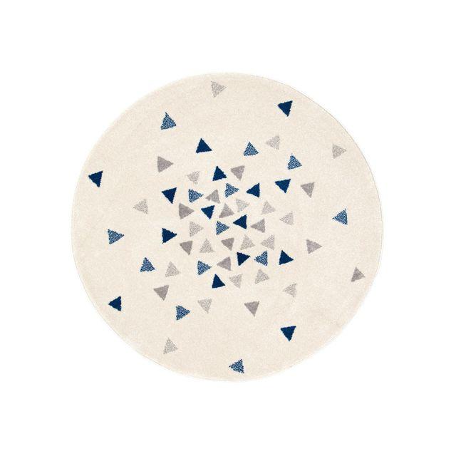 Dlm Tapis Enfant Rond Scandinave Gris Et Bleu A Motif Triangle