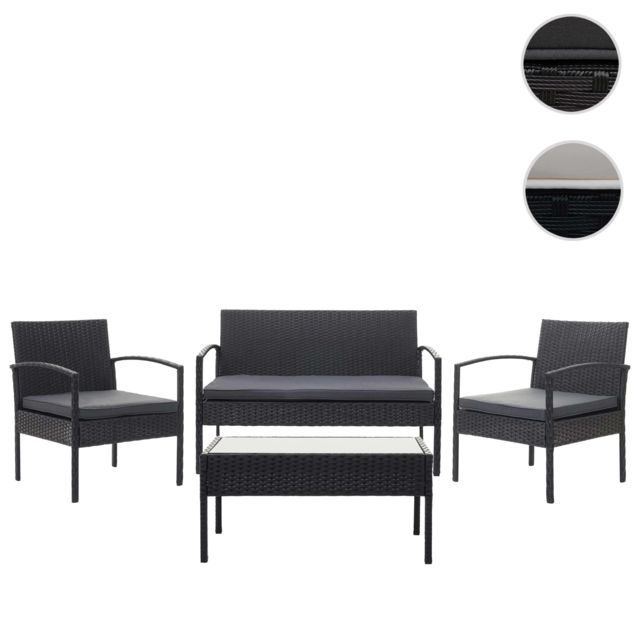 Mendler Garniture en polyrotin Hwc-f56, garniture de jardin, ensemble fauteuils ~ noir, coussin gris foncé