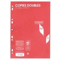 Clairefontaine - copie double blanche a4 grand carreaux 70g perforee - sachet de 50