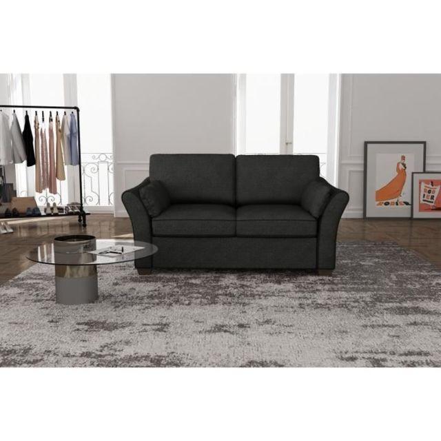 GÉNÉRIQUE CANAPE - SOFA - DIVAN RODIER INTERIEURS Canapé droit fixe 2 places - Tissu gris anthracite - Classique - L 162 x P 97 cm