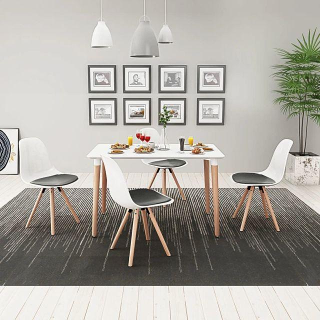 Icaverne Ensembles de meubles de cuisine et de salle à manger ligne Ensemble de table et de chaises 5 pièces Blanc et noir