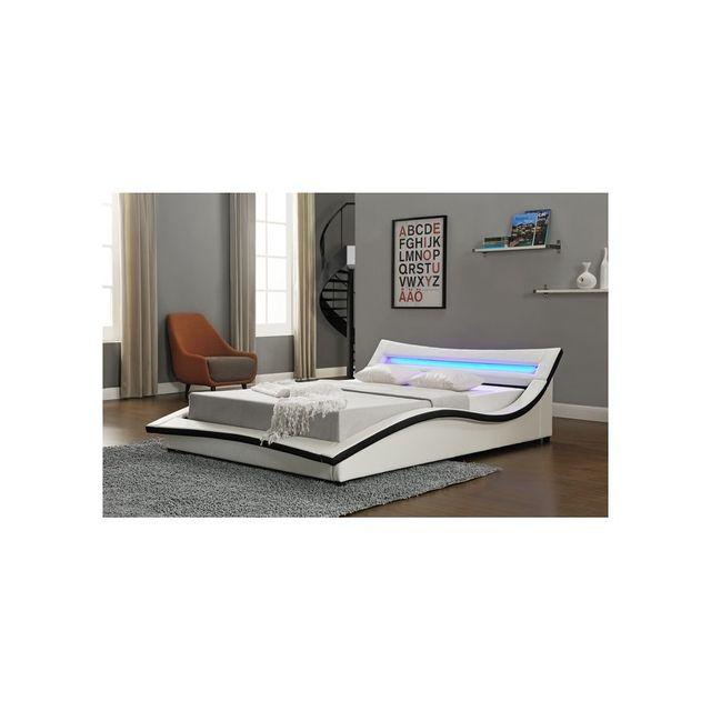 Rocambolesk Magnifique Lit Venizia 160x200 cm - Cadre de lit Led en simili cuir / Blanc