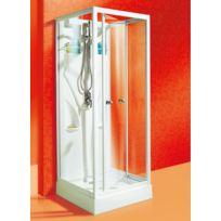 SCHULTE - Cabine de douche complète, 80 x 80 x 190 cm, cabine de douche intégrale avec portes pivotantes, verre transparent, Juist