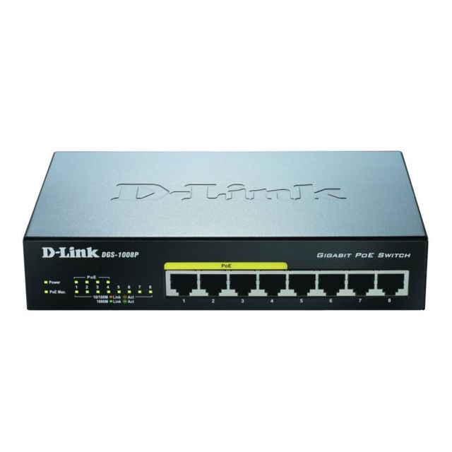 D-LINK Switch de bureau Gigabit PoE 8 ports - DGS-1008P