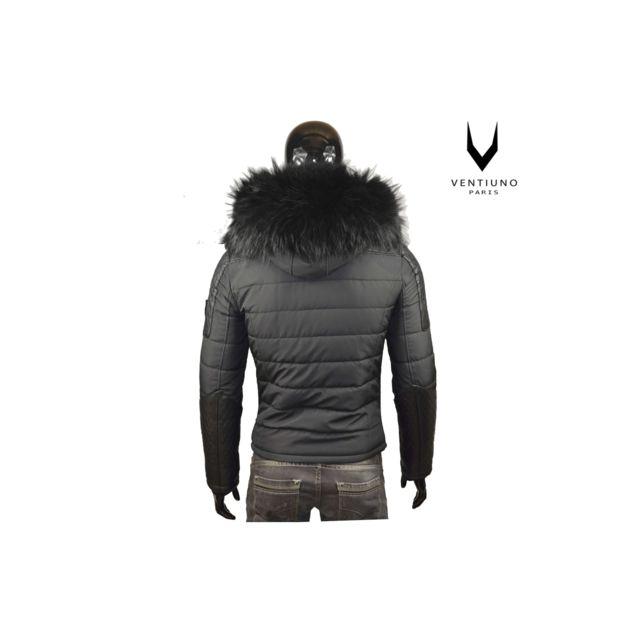 2c36ce1a8ea93 VENTIUNO - MODENA Veste Doudoune Bi-matière fourrure véritable taille MAX  NOIR - cuir d agneaudoudoune , fourrure, veste, doudoune, cuir, homme - pas  cher ...