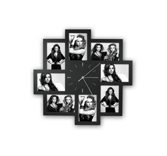 Zep - Horloge Murale avec 8 Photos Noir 10 x 15 cm Multicolore - 0cm x 0cm x 50cm