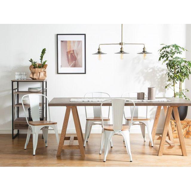 Beliani Lot de 2 chaises blanc-bois clair Apollo
