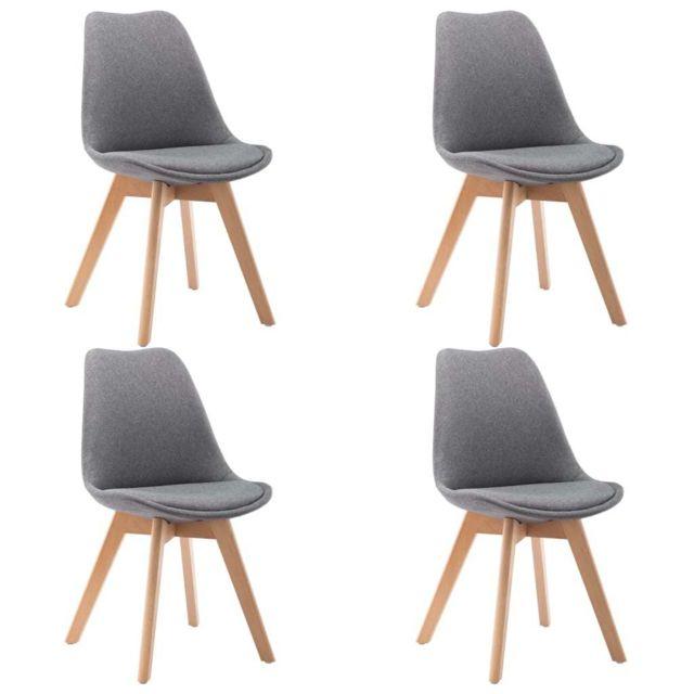 Icaverne Chaises de cuisine & de salle à manger famille Chaises de salle à manger 4 pcs Gris clair Tissu