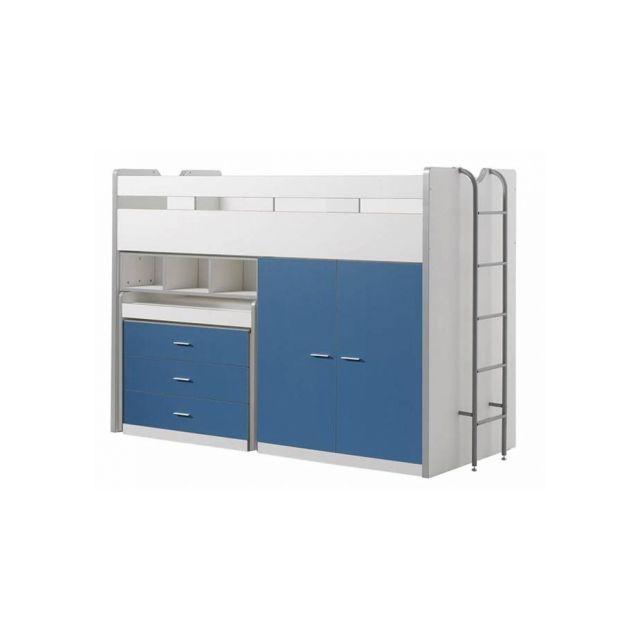 Vipack Lit Mezzanine Bonny 90 x 200 cm Bleu
