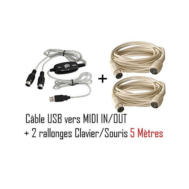 Cabling - Pack Usb Vers Midi Interface adaptateur câble Midi + 2 Rallonges clavier/souris 5M