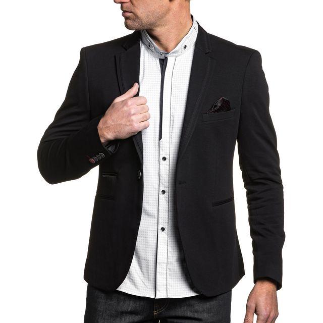 blz jeans veste de costume homme noir chic liseret rouge. Black Bedroom Furniture Sets. Home Design Ideas