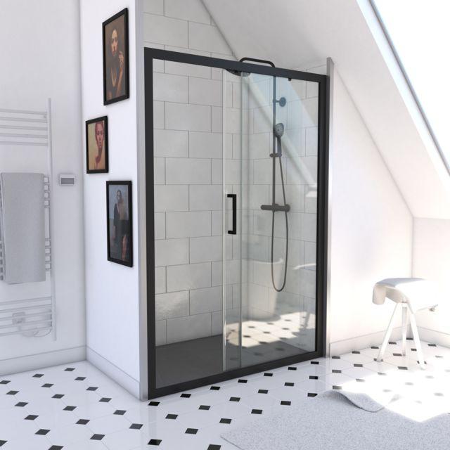 verre transparent 5mm Paroi de douche /à porte coulissante type atelier WORKSHOP SLIDING 120 120x200cm PROFILE NOIR MAT PORTE COULISSANTE