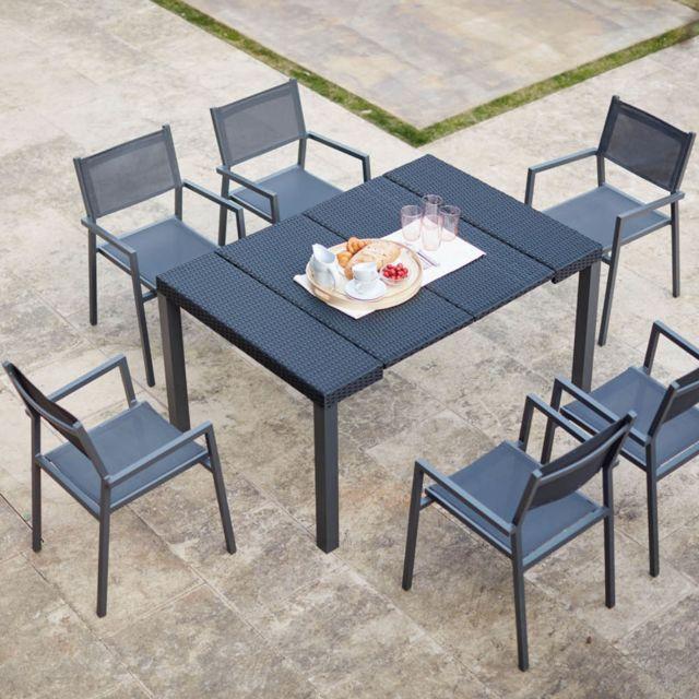 CONCEPT USINE Console résine avec 6 chaises et leurs housses de protection