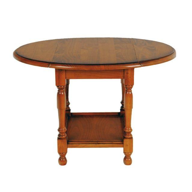 Tousmesmeubles Petite Table Pliable En Merisier Berichon Bois