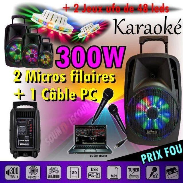Ibiza Sound Karaoké enceinte sono portable usb bluetooth 300w pour vos soirees dj - 2 ufo 48 led - pa dj sono jeux lumiere