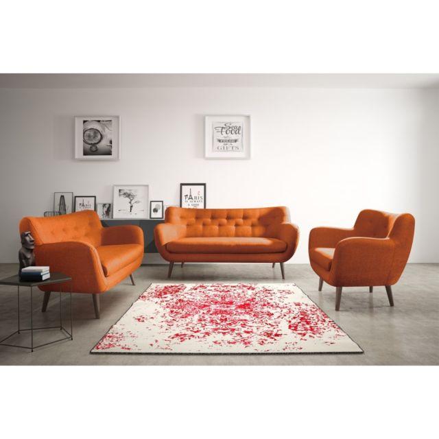 Rocambolesk Canapé Adele 1 sawana 18 orange avec pieds noir sofa divan
