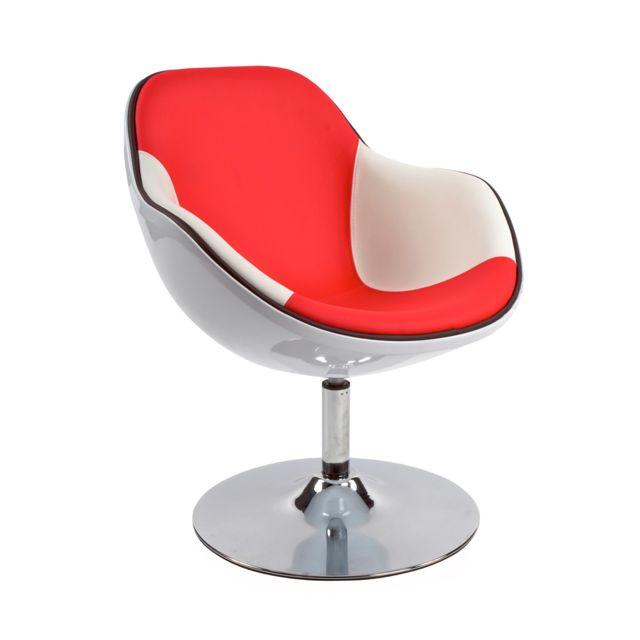 Marque Generique Fauteuil design 68x68x82,5cm Dayto - blanc et rouge