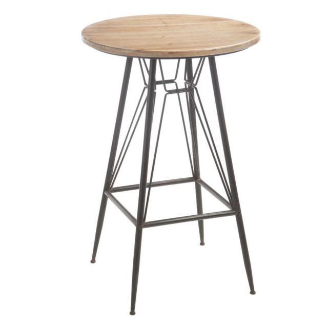 Tousmesmeubles Table de bar Bois/Métal - Venus