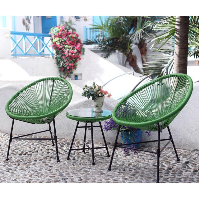 CONCEPT USINE Acapulco: Ensemble 2 fauteuils oeuf + table basse vert