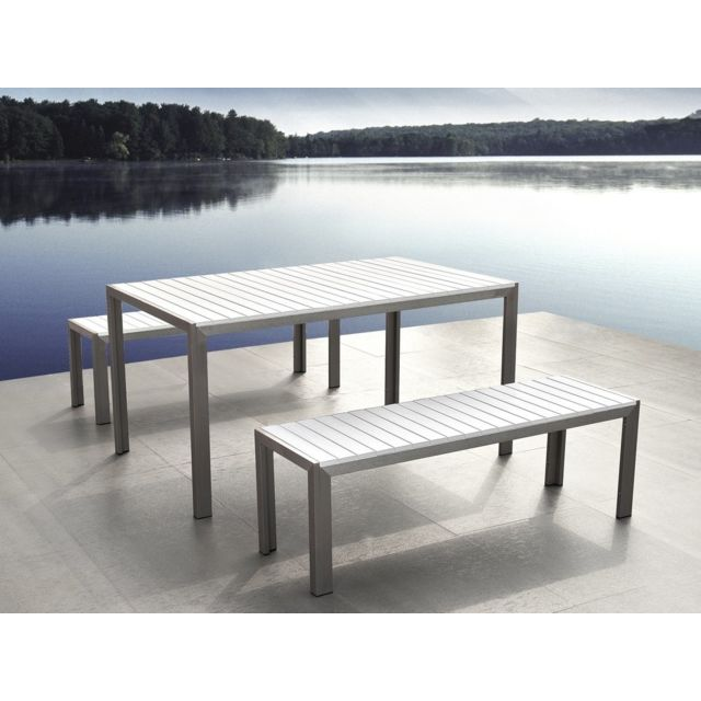 BELIANI - Table de jardin avec deux bancs aluminium plateau en ...