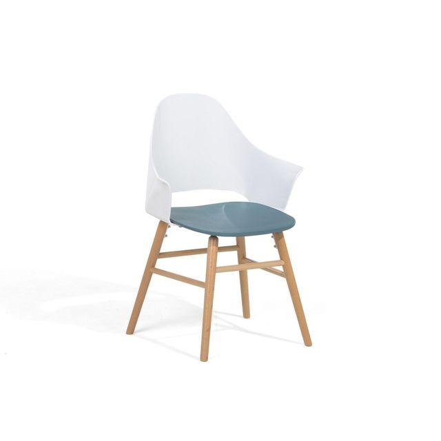 beliani chaise design sige en plastique bleu et blanc boston - Chaise Design Plastique