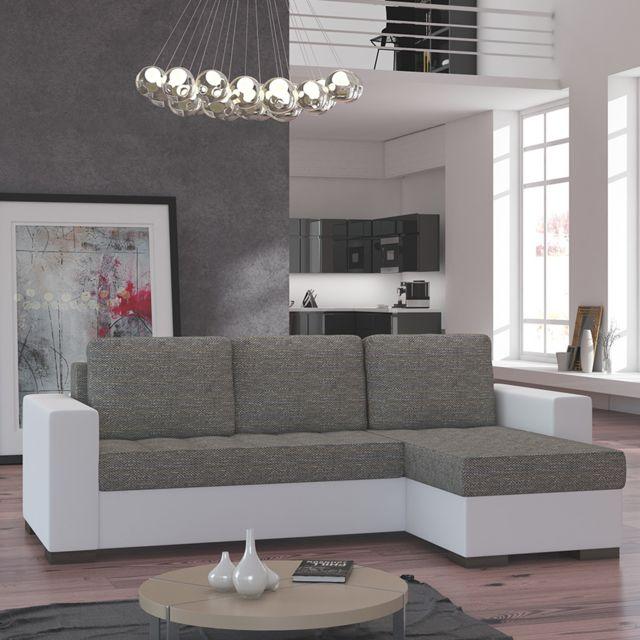 SOFAMOBILI Canapé d'angle convertible taupe et blanc STONE