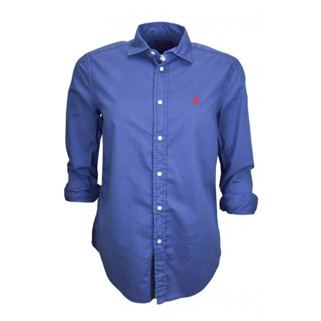 Ralph Lauren - Chemise décontractée en sergé de coton bleu marine pour femme  - pas cher Achat   Vente Chemise femme - RueDuCommerce 5ff5b4e6860