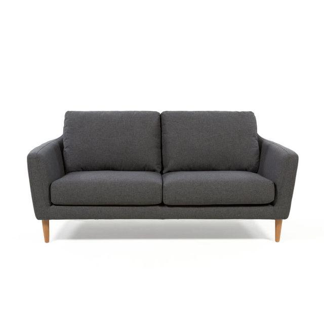 AXE DESIGN Canapé scandinave en tissu avec pieds bois HEJ - Gris foncé - 3 places
