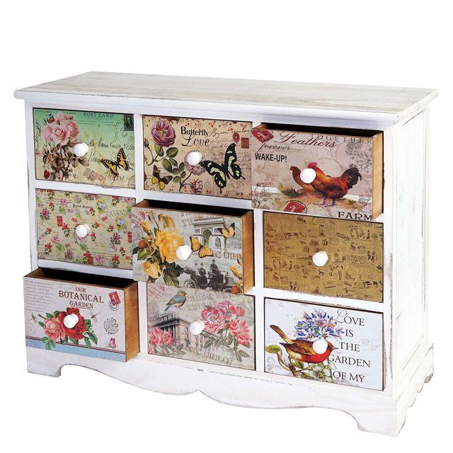 Mendler Commode Venlo, armoire à tiroirs, style shabby chic, vintage, 9 tiroirs – 60x79x30cm
