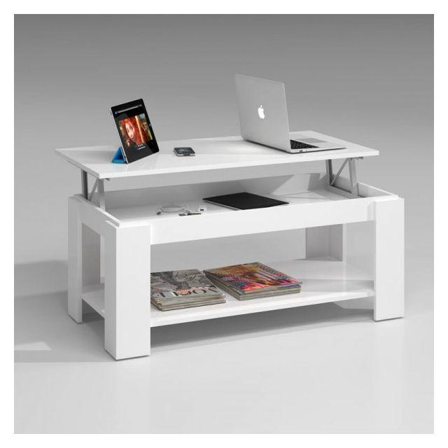 Dansmamaison Table basse relevable Blanche double plateau - Ruinui - L 102 x l 50 x H 43/54 cm