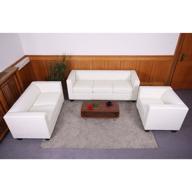 Mendler Salon 3-2-1, garniture de canapés / lounge Lille ~ similicuir, blanc