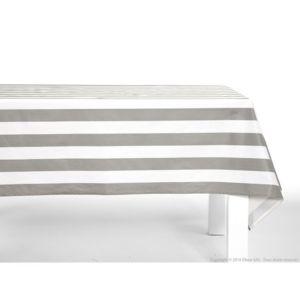 comptoir des toiles nappe 100 coton enduit traitement antitache rayure bicolore blanc gris. Black Bedroom Furniture Sets. Home Design Ideas