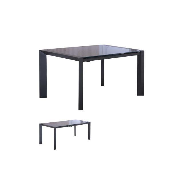 Table repas avec allonges coloris gris - Lanan