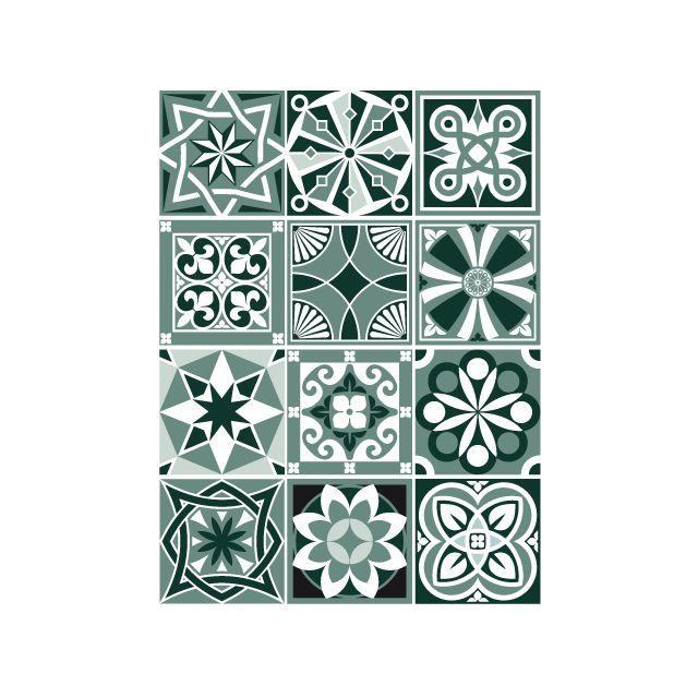 Sticker Carrelage Carreaux De Ciment Mosicgreen 12 Pièces 15 X 15 Cm