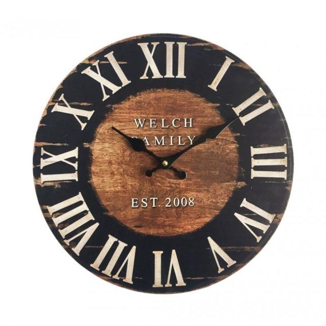 mobili rebecca horloge de salon horloge murale bois style industrielle marron pas cher achat. Black Bedroom Furniture Sets. Home Design Ideas