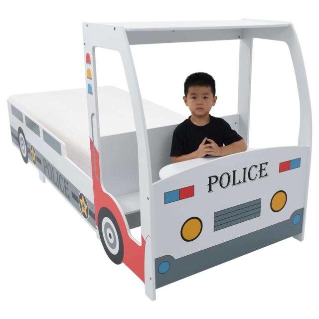 Icaverne - Lits bébés et enfants serie Lit voiture de police avec matelas pour enfants 90x200cm 7 Zone