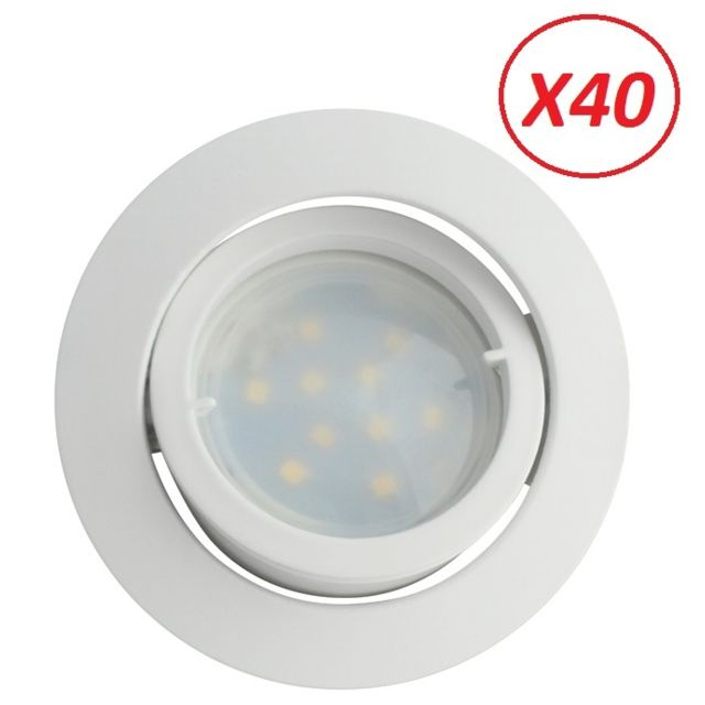 Lampesecoenergie Lot de 40 Spot Led Encastrable Complete Blanc Orientable lumiere Blanc Neutre eq. 50W ref.888