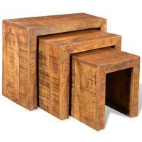 Vimeu-Outillage - Ensemble en style antique de 3 tables empilables en bois de mangue