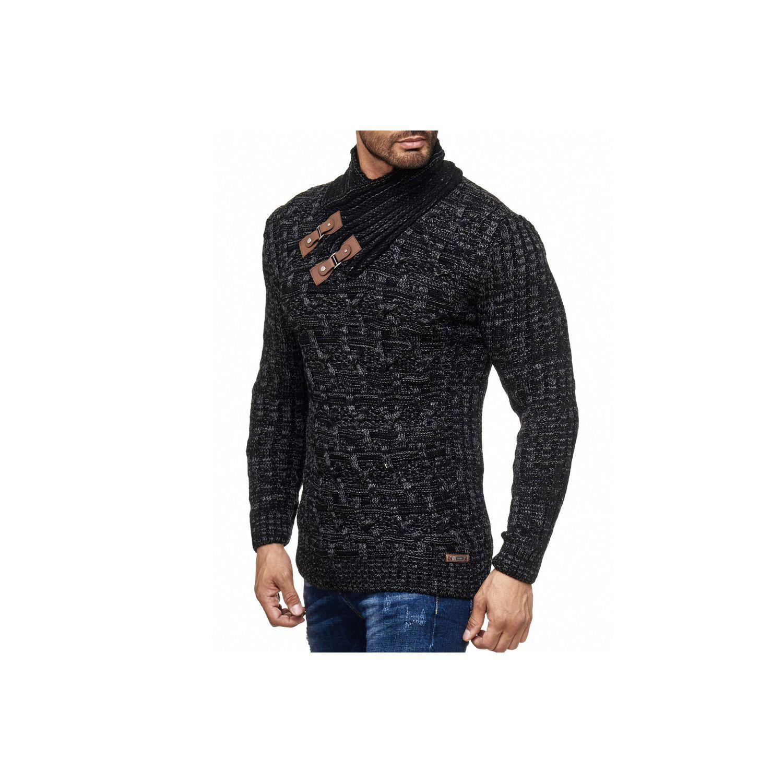 d2fe183abe24 MONSIEURMODE- Tricot tendance pour homme Pull 18004 noir
