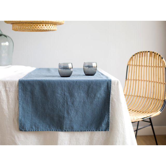 Akhal - Chemin de table uni 100% lin lavé 185gr/m2 50x146cm James - BleuNC 0cm x 0cm