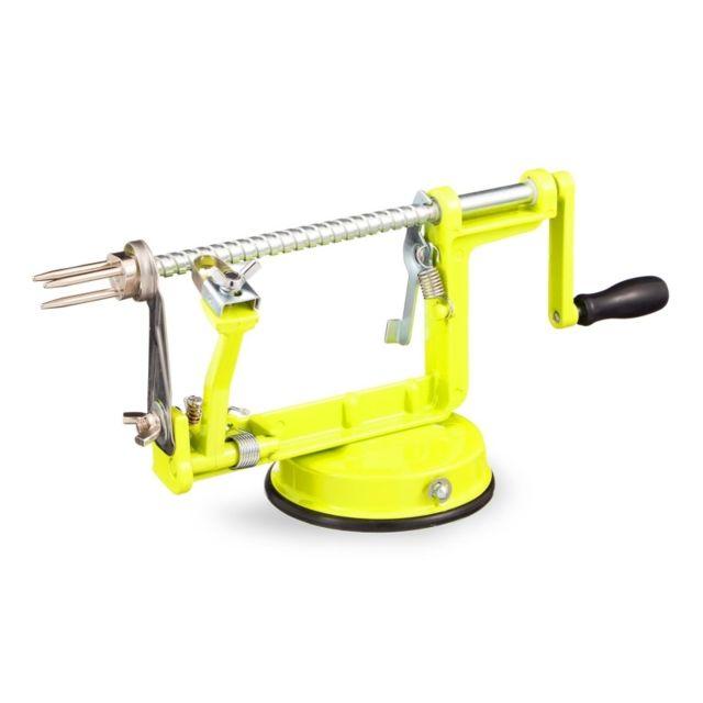 Pèle-pomme manuel - Mécanisme épluche et coupe pommes - Vert