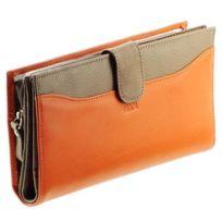 Kinsell - Portefeuille femme / Portefeuille en cuir camel de haute qualité