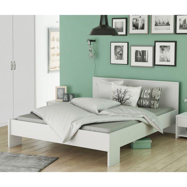 TERRE DE NUIT - Lit en bois blanc perle LT126 140x190 200 Bois ... d9725c9c1fb9