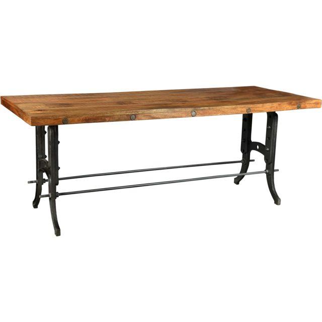 ANTIC LINE CREATIONS - Grande table de ferme métal et bois Multicolore - 80cm x 210cm x 84cm - Non extensible