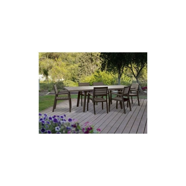 Ensemble de jardin Harmony en resine imitation bois 6 places - Marron